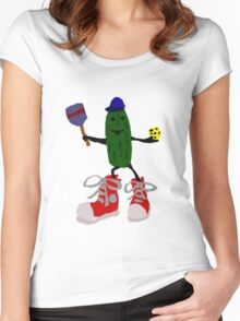 Funny Cool Pickleball Pickle with Red Sneakers Women's Fitted Scoop T-Shirt