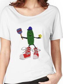 Funny Cool Pickleball Pickle with Red Sneakers Women's Relaxed Fit T-Shirt