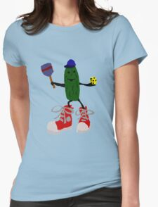 Funny Cool Pickleball Pickle with Red Sneakers Womens Fitted T-Shirt