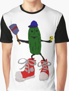 Funny Cool Pickleball Pickle with Red Sneakers Graphic T-Shirt