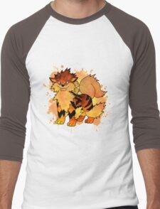Arcanine - with background Men's Baseball ¾ T-Shirt