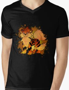 Arcanine - with background Mens V-Neck T-Shirt