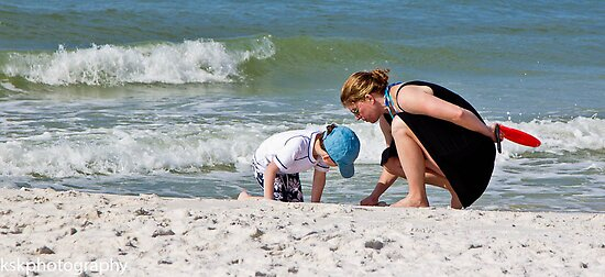 Mother and son on beach by KSKphotography