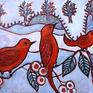 "Red Birds at the Lake by Belinda ""BillyLee"" NYE (Printmaker)"