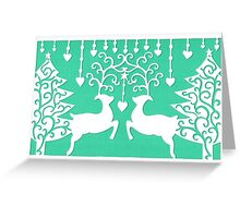 Stags & the Christmas Trees - Green Greeting Card