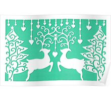 Stags & the Christmas Trees - Green Poster