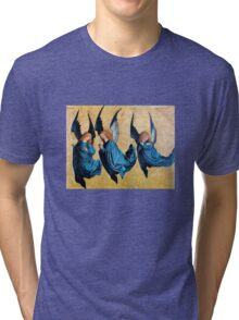 THREE CHRISTMAS ANGELS IN BLUE Tri-blend T-Shirt