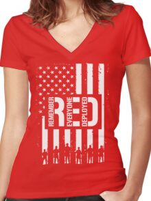 R.E.D. (Remember Everyone Deployed) Women's Fitted V-Neck T-Shirt
