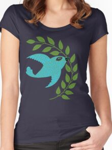 Bluebird with Green Garland  Women's Fitted Scoop T-Shirt