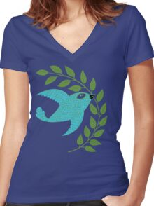 Bluebird with Green Garland  Women's Fitted V-Neck T-Shirt