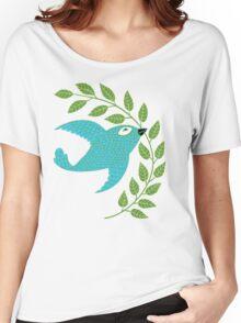 Bluebird with Green Garland  Women's Relaxed Fit T-Shirt