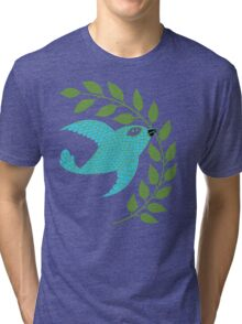 Bluebird with Green Garland  Tri-blend T-Shirt