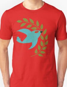 Bluebird with Green Garland  T-Shirt