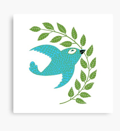 Bluebird with Green Garland  Canvas Print