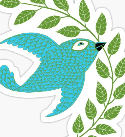 Bluebird with Green Garland  Sticker