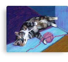 Cat and Yarn Canvas Print