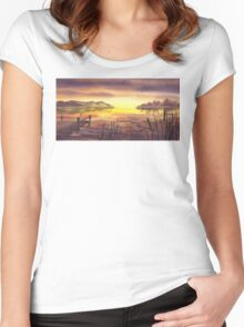 Peaceful Sunset At The Lake Women's Fitted Scoop T-Shirt