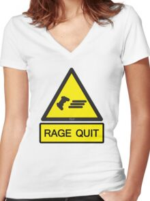Rage Quit Warning  Women's Fitted V-Neck T-Shirt