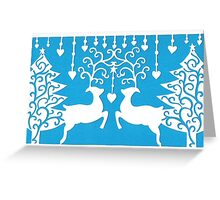 Stags & the Christmas Trees - Blue Greeting Card