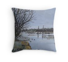 Winter's day at the Rhine Throw Pillow