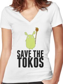 Ni No Kuni SAVE THE TOKOS Women's Fitted V-Neck T-Shirt