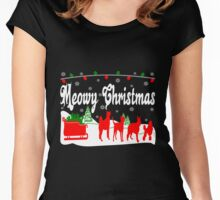 Meowy Christmas Cat Sleigh Women's Fitted Scoop T-Shirt