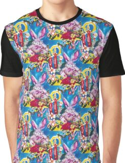 PINK  RABBIT WITH CHRISTMAS CANDLES AND HOLLYBERRIES Graphic T-Shirt
