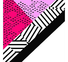 Girly Modern Pink, Black, & White Geometrical  Photographic Print