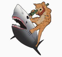 Bearded kitten shooting a shark with a bazooka One Piece - Short Sleeve