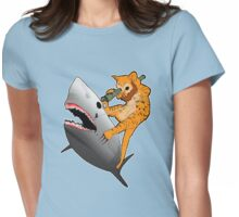 Bearded kitten shooting a shark with a bazooka Womens Fitted T-Shirt