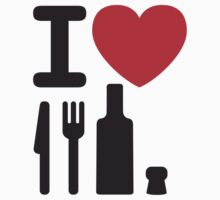 I love NY - a knife, a fork, a bottle and a cork that's the way you spell New York by LaundryFactory