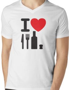 I love NY - a knife, a fork, a bottle and a cork that's the way you spell New York Mens V-Neck T-Shirt