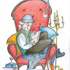 Don Quichot is reading his chivalry books by Sanne Thijs