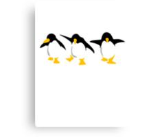 Three dancing Penguins Canvas Print