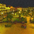 Plaza de La Libertad-Tampico, Mexico-Impasto Style Digital Painting by Paul Wolf