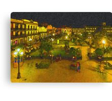 Plaza de La Libertad-Tampico, Mexico-Impasto Style Digital Painting Canvas Print