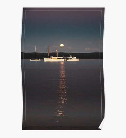 Peaceful mooring under the rising moon Poster