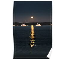 Calm evening mooring stay in moonlight Poster