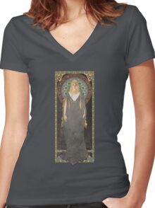 The Lord of the Rings poster Galadriel - Lady of the Galadhrim / art nouveau Women's Fitted V-Neck T-Shirt