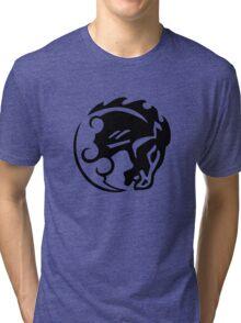 Bioshock Infinite Bucking Bronco Vigor [Black on White] Tri-blend T-Shirt