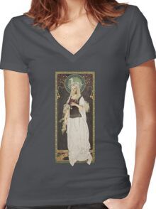 The Lord of the Rings poster Éowyn - shieldmaiden of Rohan / art nouveau Women's Fitted V-Neck T-Shirt