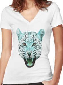 Run Wild [Leopards Blank] Women's Fitted V-Neck T-Shirt