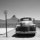 Route 66 - Old Chevy and Shield by Frank Romeo