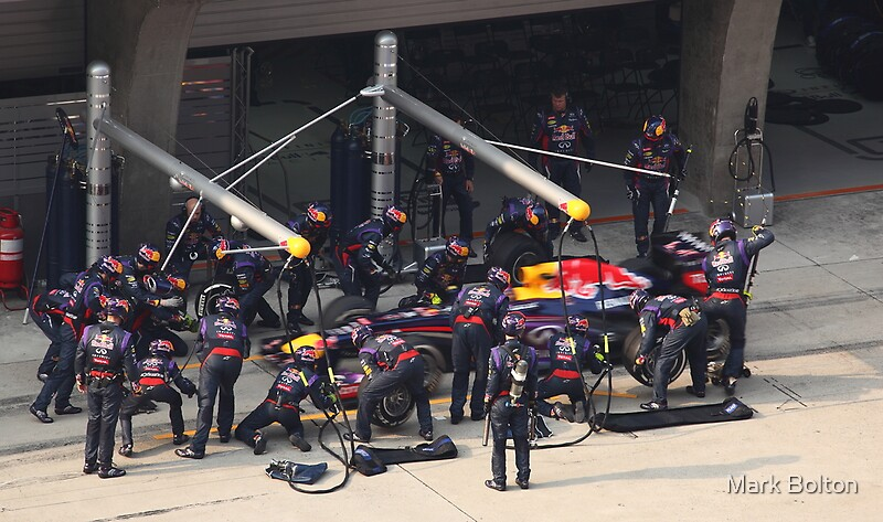 Mark Webber enters the Red Bull Racing Pit