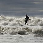 Paddle boarder at Aberavon Beach by Damien Rosser Photography