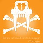 Saber-Toothed Cat and Crossbones Poster - Orange by DwightBynumJr