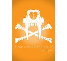 Saber-Toothed Cat and Crossbones Poster - Orange Photographic Print