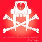 Saber-Toothed Cat and Crossbones Poster - Red by DwightBynumJr