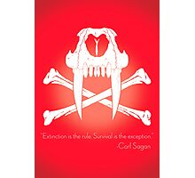 Saber-Toothed Cat and Crossbones Poster - Red Photographic Print