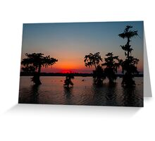 Kayaking at Sunset on Lake Martin, Louisiana Greeting Card
